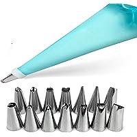 Kit de decoración de pasteles de 16 piezas con 14 puntas de hielo, 1 bolsas de pasta de silicona, 1 acopladores de plástico reutilizables, utensilios de horneado, herramientas de glaseado para galletas de magdalenas (Azul)