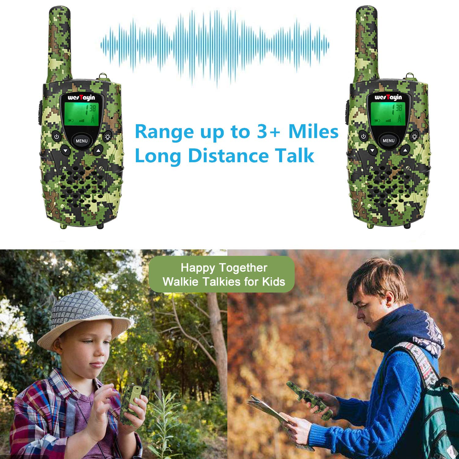 WES TAYIN Rechargeable Walkie Talkies for Kids, 4 Miles Kids Walkie Talkies with VOX Hands Free and LED Flashlight, Power Saving Two Way Radios Toys, Holiday Birthday for Kids by WES TAYIN (Image #7)