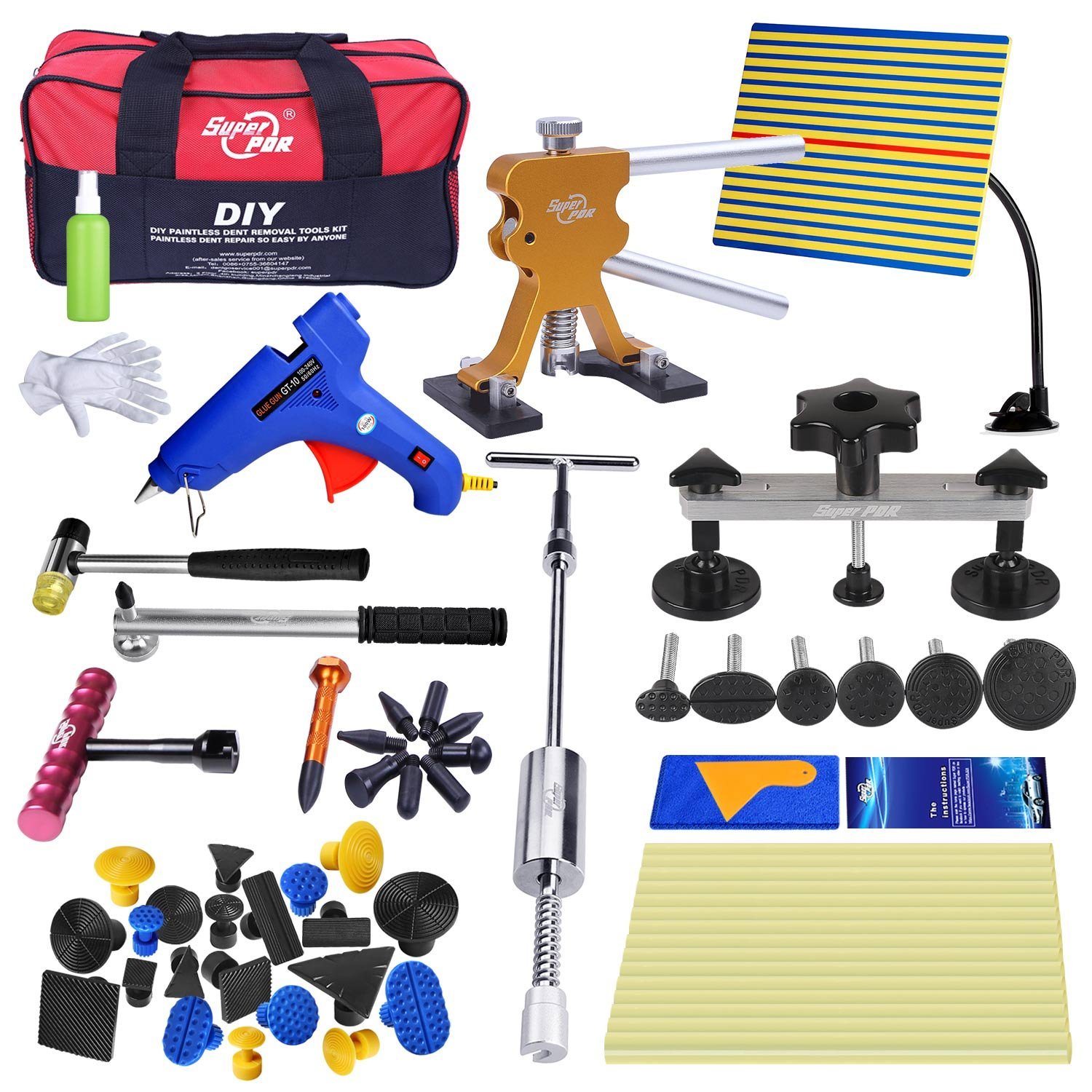Super PDR 20pcs Dent Puller Dent Repair Kits Suction Cup Pop a Dent Piantless Tools