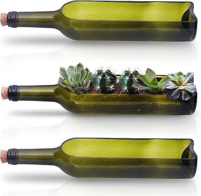 Maceta Botella de Vino (3 Piezas) - Macetas Decorativas 22,5cm de ...