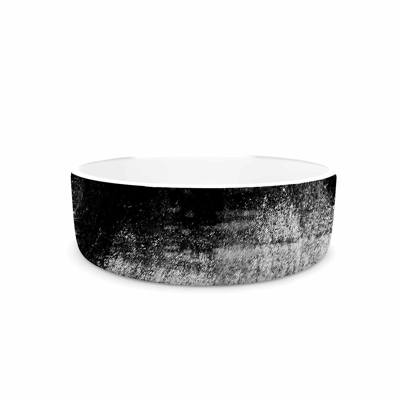 KESS InHouse Iris Lehnhardt Black & White Black White Painting Pet Bowl, 7  Diameter