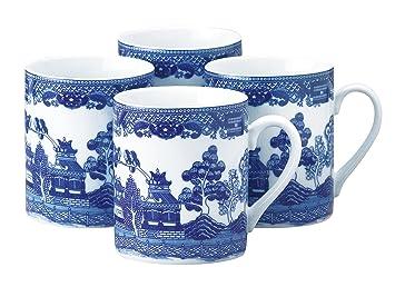 HIC Blue Willow Coffee Tea Mug Set, Fine White Porcelain, 10 Ounces,