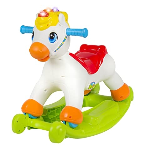 Best Choice Products Musical Educational Rocking Horse With Ride On Rollers Learn ABCs Shapes