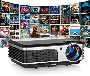 Portable Video LCD Projector Home Cinema Proyector with HDMI VGA USB AV Zoom Support Full HD Widescreen Indoor Outdoor Movie Gaming for Laptop Blu-ray Player Android Smart Phone Netflix Roku PS4