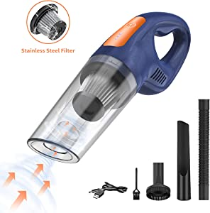 LITTLEMOLE Handheld Vacuum, Hand Vacuum Cordless, Mini Vacuum Cleaner with High Power, USB Rechargeable Li-Ion Battery Quick Charge, for Home and Car Cleaning-Blue&Orange