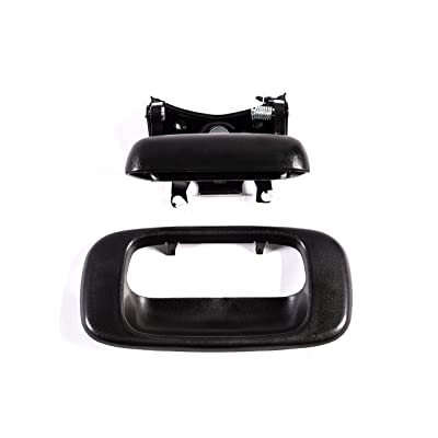 Tailgate Handle & Bezel Textured Black Rear Exterior Replacement for Chevy Silverado GMC Sierra (99 00 01 02 03 04 05 06 07 Classic) - Clips Included - GM1915105 GM1916102: Automotive