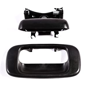 Tailgate Handle & Bezel Textured Black Rear Exterior Replacement for Chevy SIlverado GMC Sierra 1500 2500