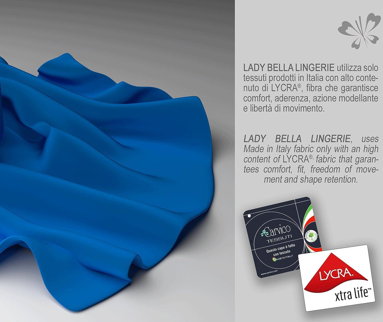 Classic Lady PA0188 Body Contenitivo e Modellante in Elegante Pizzo Senza Ferretto Tessuto in Microfibra Foderata in Cotone Coppa C e D Pannello Frontale Rinforzato per Pancia Piatta
