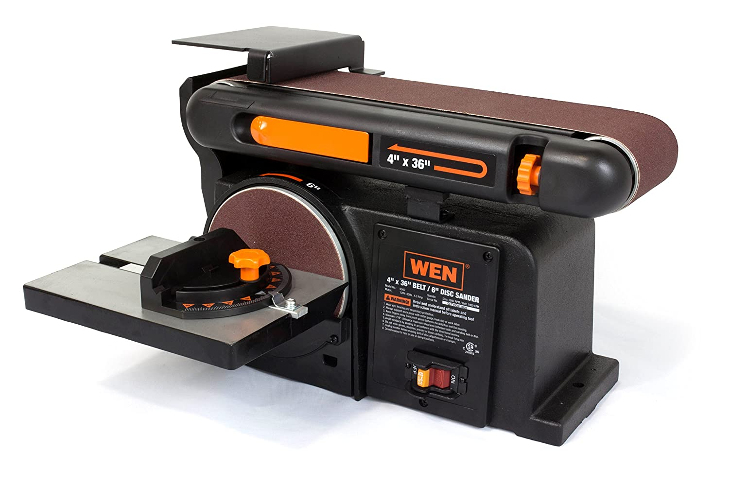 WEN 6502T 4.3-Amp 4 x 36 in. Belt and 6 in. Disc Sander with Cast Iron Base