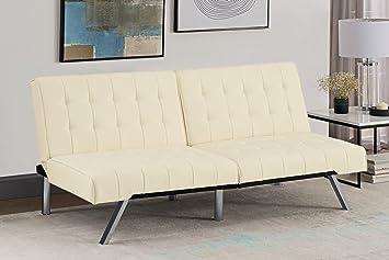 Strange Dhp 1 X Emily Convertible Sofa Bed Leather Vanilla 180 3 X 86 5 X 81 4 Cm Bralicious Painted Fabric Chair Ideas Braliciousco