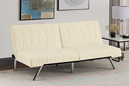DHP Emily Futon Sofa Bed Modern Convertible Couch With Chrome Legs Quickly Converts into a & Amazon.com: DHP Emily Futon Sofa Bed Modern Convertible Couch With ...