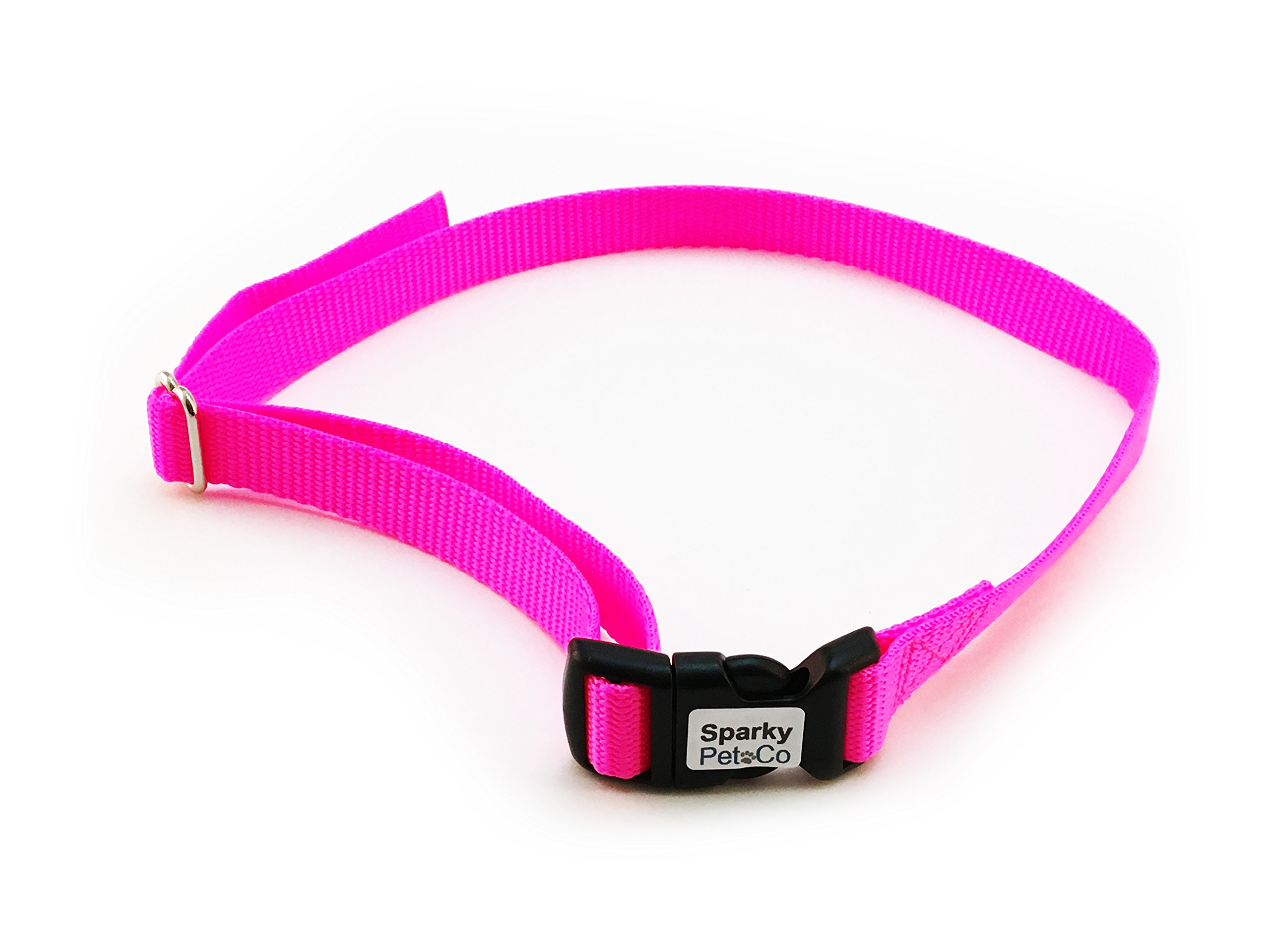 Sparky PetCo Dog Fence Receiver Heavy Duty 3/4 SOLID No Hole Nylon Replacement Strap, Neon Pink