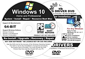 2 DISC Windows 10 64-BIT Home and Pro Install DVD For Fast Repair, Recovery, Restore, Installations, Re-Installs with 2020 Driver Install DVD - No Internet Needed
