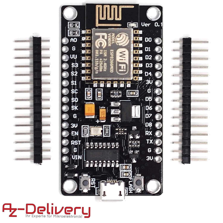 AZDelivery ⭐⭐⭐⭐⭐ NodeMcu WiFi Lua Lolin V3 ESP8266 ESP-12E Development Board with CH340 unsoldered version including free eBook!