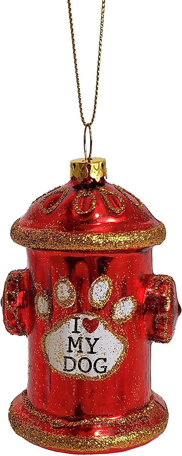Party Explosions Fire Hydrant Red Christmas Ornament with I Love My Dog Script