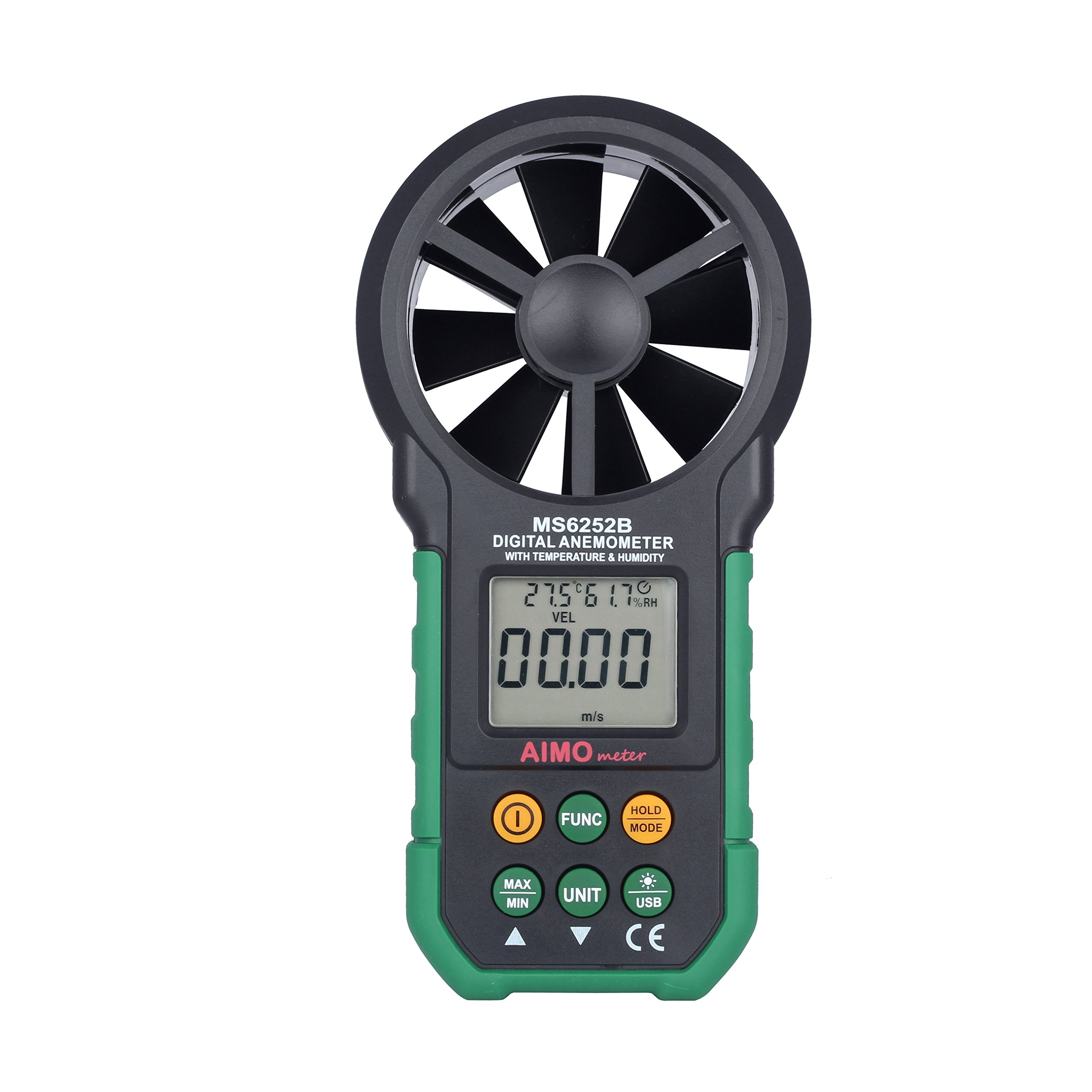 AimoTek MS6252B Digital Anemometer Temperature Humidity Tester Anemometro Air Flow Meter with USB Real Time Data