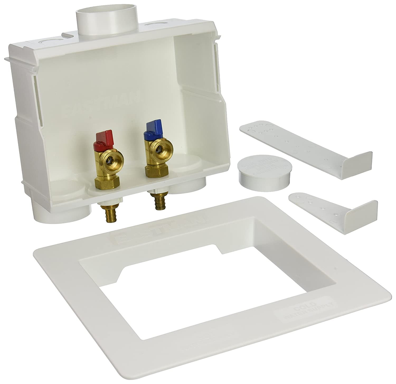 "Eastman 60245 Crimp PEX Dual Washing Machine Outlet Box 1/2"" Connection White"