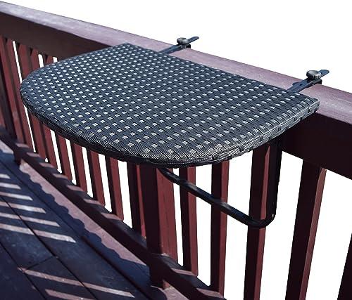 Oakland Living Balcony Railing Wicker Table
