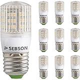 Sebson Pack de 10 ampoules LED 3W 210lm (remplace 25W) - Culot E27 - Angle du faisceau 360° - Blanc chaud