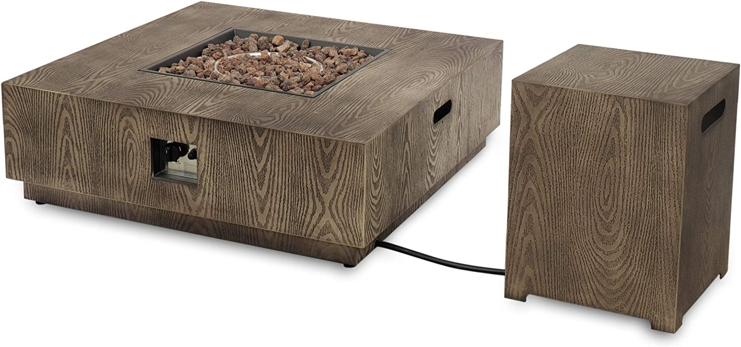 Christopher Knight Home 312829 Abraham Outdoor 40-Inch Square Fire Pit with Tank Holder, Concrete