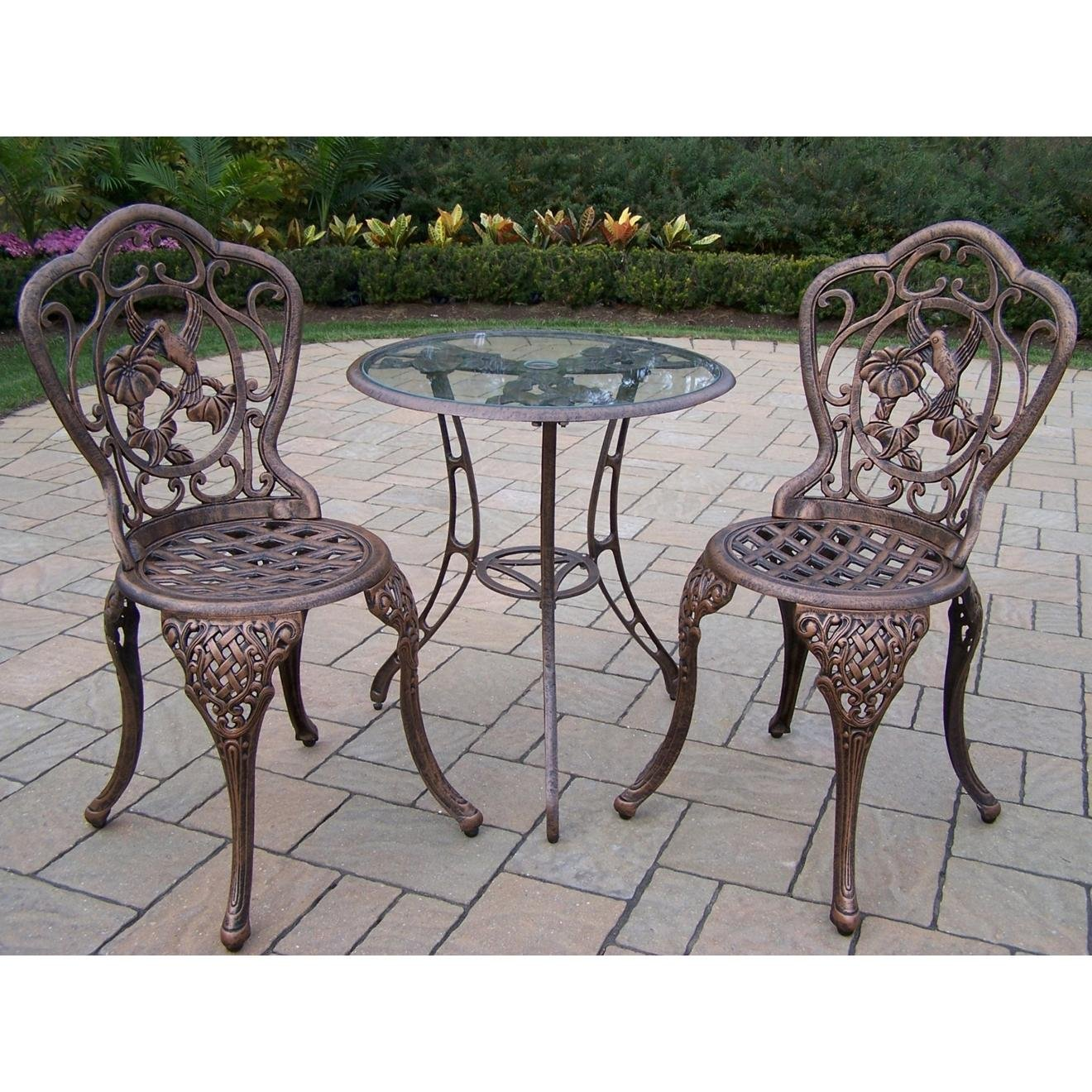Oakland Living Hummingbird Cast Aluminum 24-Inch Glass Top Table with 3-Piece Bistro Set, Antique Bronze