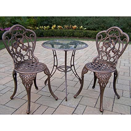 Oakland Living Hummingbird Cast Aluminum 24 Inch Glass Top Table With  3 Piece Bistro