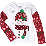 girls christmas shirts long sleeve holiday graphic tshirts with glitter accents snowman med - Christmas Shirts For Girls
