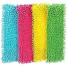 com-four® 4X Ersatz-Bezug für Bodenwischer, Wischbezug aus Microfaser Chenille zur gründlichen Reinigung Ihrer Wohnfläche (blau/pink/gelb/grün)
