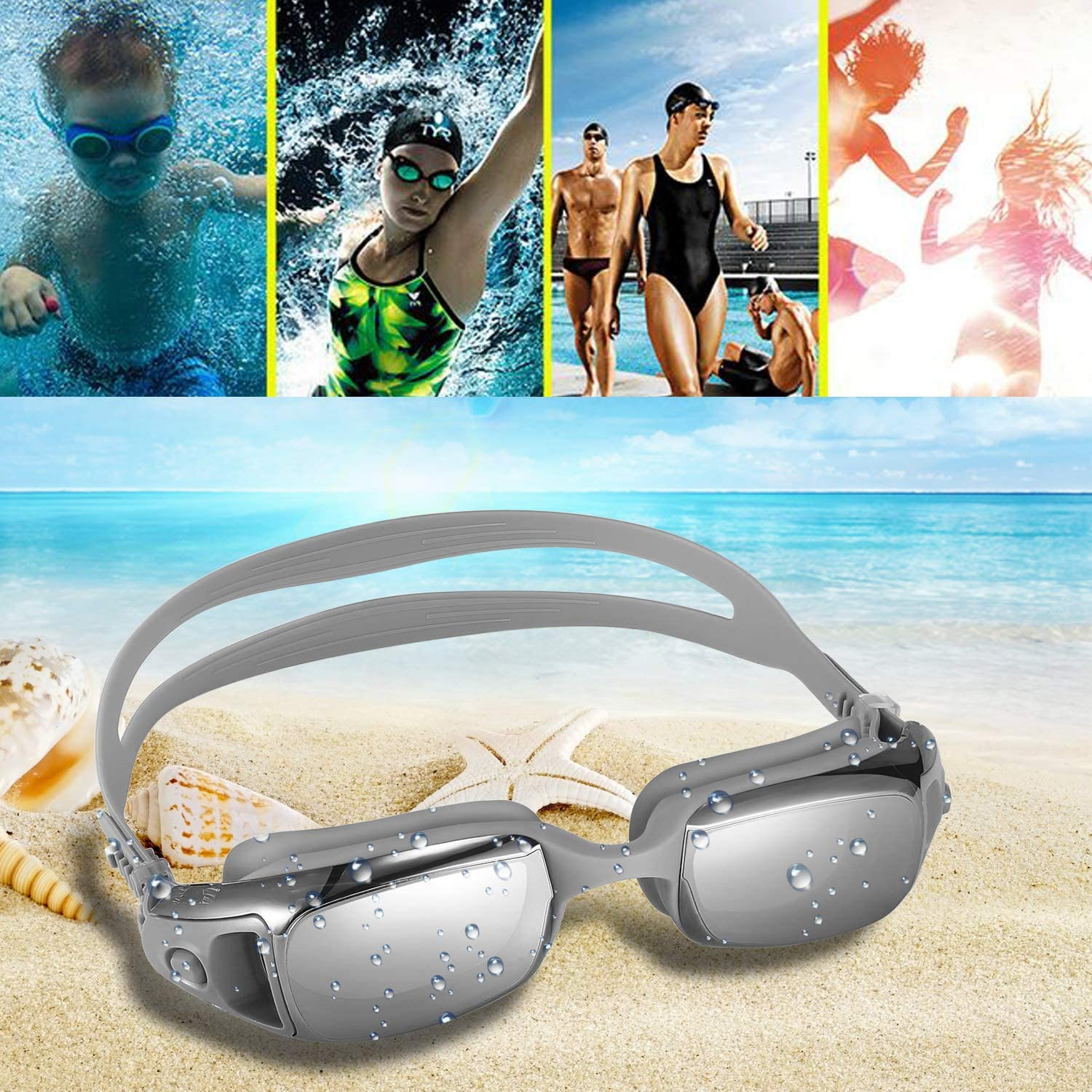Adjustable Strap No Leaking Anti-Fog Indoor Outdoor Swimming Goggles with UV Protection Mirror Coating Lenses for Adult Women Men Youth Kids SPORFEEL Swim Goggles