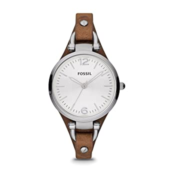 868704550 Fossil Women's Georgia Stainless Steel Analog-Quartz Leather Strap, Brown,  8 Casual Watch