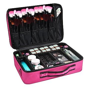 Maletín para Maquillaje, Estuche Organizador de Cosméticos Brochas, Ligero y Pequeño conveniente de llevar (Talla grande, Rosa)
