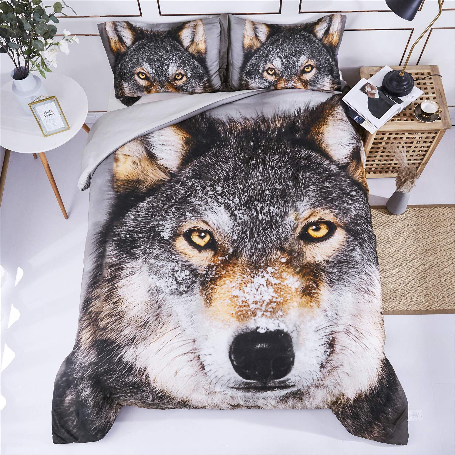 HIG 3D Bedding Set 3 Piece Queen Size Wolf Head Animal Print Duvet Cover with Two Matching Pillow Covers -Super Soft Duvet Cover -General for Men and Women Especially for Children (P26,Queen)