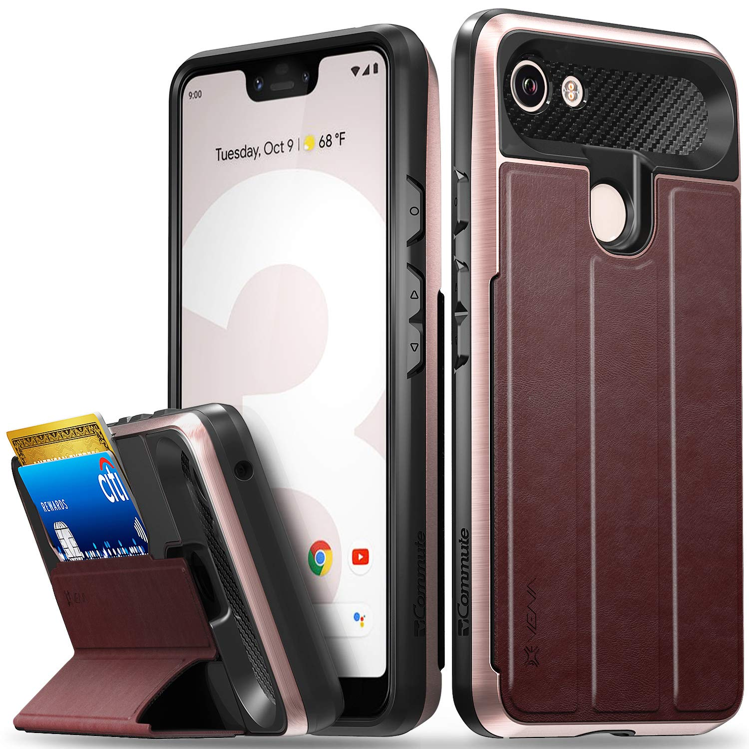 Vena Google Pixel 3 XL Wallet Case, [vCommute][Military Grade Drop Protection] Flip Leather Cover Card Slot Holder with Kickstand Compatible with Google Pixel 3 XL (Rose Gold)