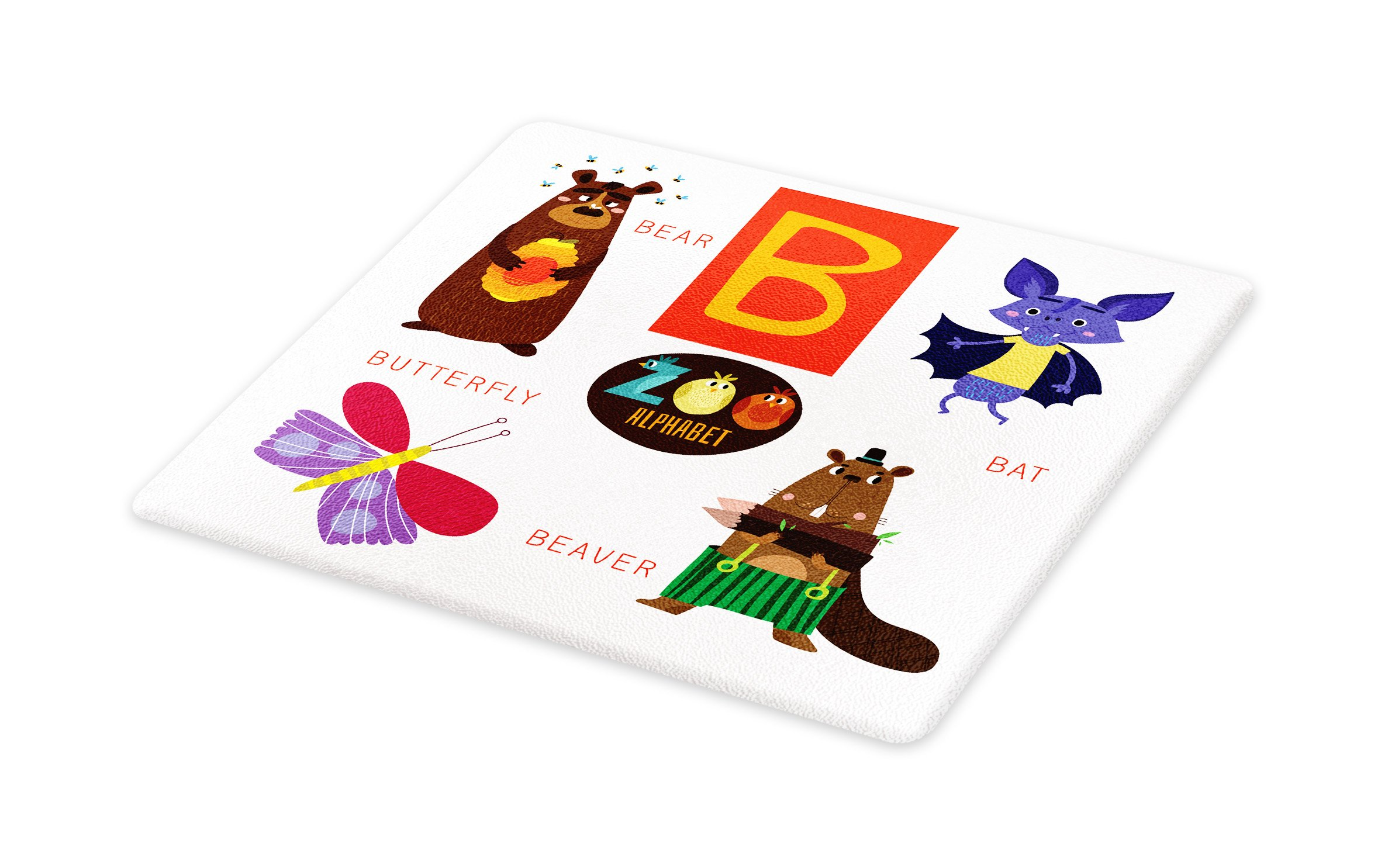 Lunarable ABC Kids Cutting Board, Letter B with Bat Butterfly Bear and Beaver Learn to Read Going to School Theme, Decorative Tempered Glass Cutting and Serving Board, Large Size, Multicolor