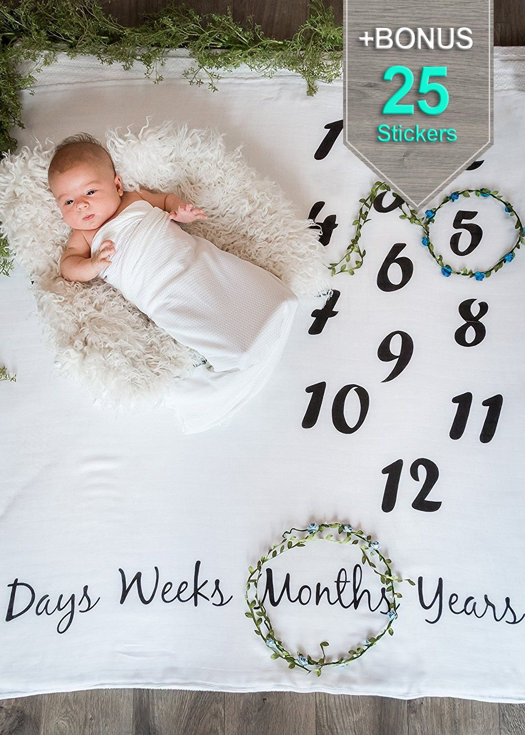 Baby Milestone Blanket + Newborn Milestones Stickers | Monthly Age Infant Photography Props Blanket White | Cute Baby Shower Gift for Boy & Girl | Photo Accessories Prop Backdrop Pics | Funny Sticker