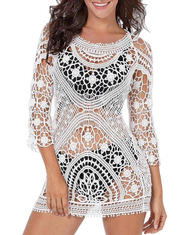 252e537231e96 Funnygirl Women s Fashion Bikini Cover Up Lace Crochet Tunic Beach Swimwear  Dress Beige Medium-Large One Size at Amazon Women s Clothing store