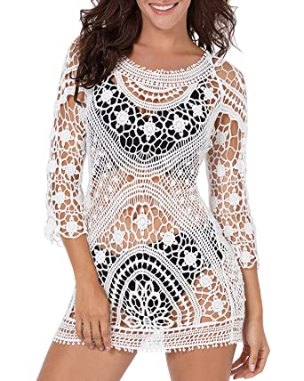 252e537231e96 Funnygirl Women s Fashion Bikini Cover Up Lace Crochet Tunic Beach Swimwear  Dress Beige Medium-Large One Size at Amazon Women s Clothing store