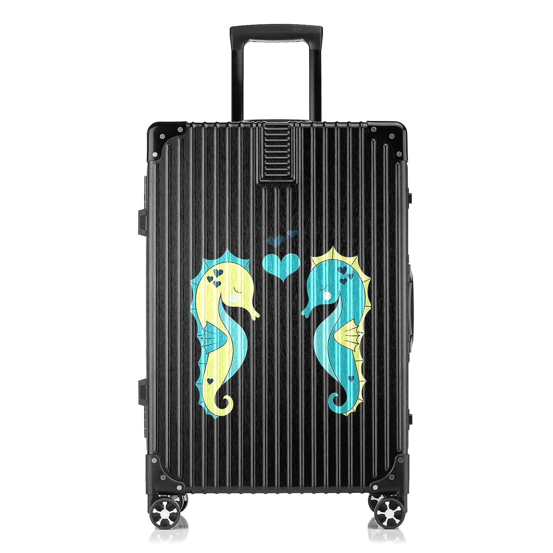 GSHCJ スーツケース カッコイイタツノオトシゴ キャリーケース 20インチ おしゃれ ブラック Tsaロック搭載 プリント ハード 超軽量 軽い 機内持込 ロックファスナー 旅行 ビジネス 出張 海外 修学旅行 丈夫 便利 レディース メンズ 学生 B07RX7LT6S