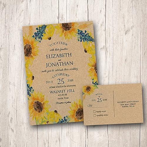 Amazon.com: Rustic Sunflower Wedding Invitations, Fall Wedding ...