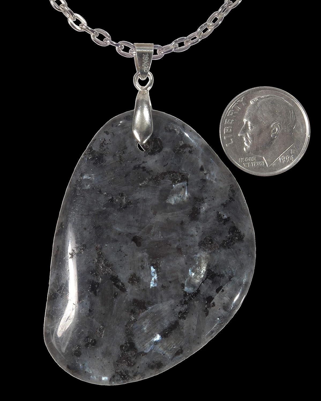 BIG and BOLD Unisex One Of A Kind Genuine Labradorite Gemstone Pendant FREE 20 CHAIN+FREE GIFT BAG Pendant