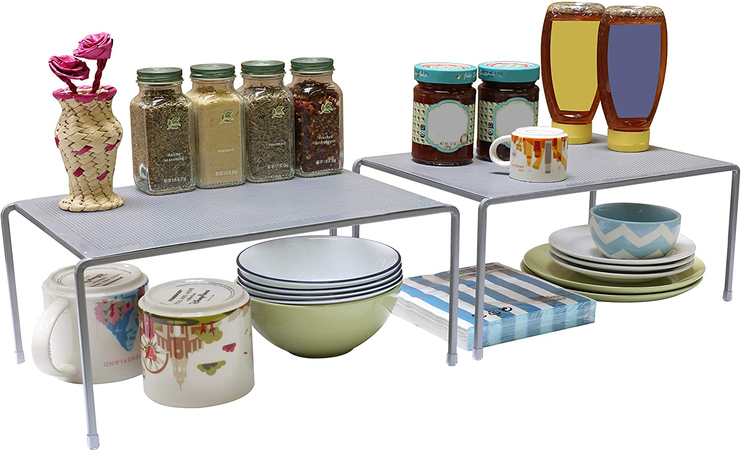 DecoBros Expandable Stackable Kitchen Cabinet and Counter Shelf Organizer,Silver: Kitchen & Dining