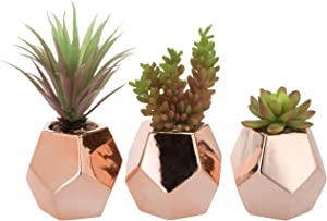 MyGift Set of 3 Desktop Artificial Succulents in Rose Gold-Tone Ceramic Planters