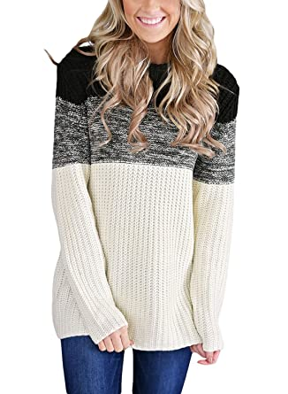 0c4049cc3a HOTAPEI Women s Cowl Neck Color Block Long Sleeve Knit Pullover Sweater at  Amazon Women s Clothing store
