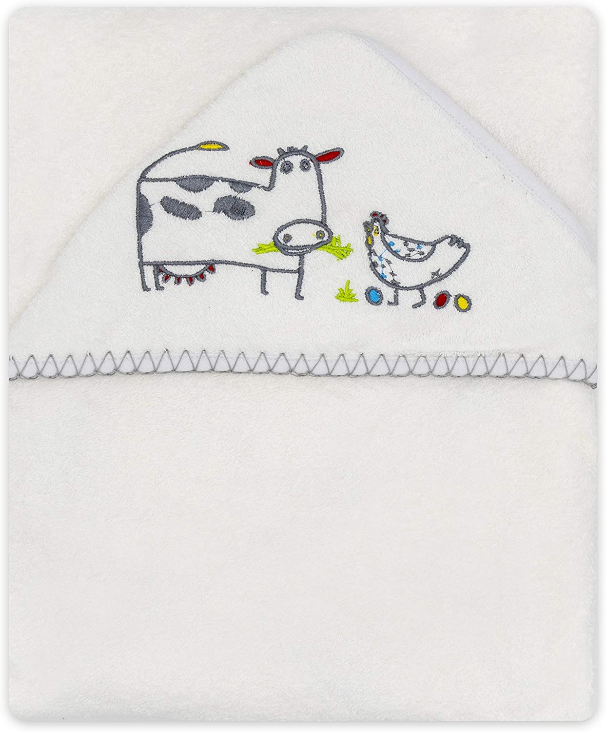 White Kids Poncho Bathrobe 95 x 95 cm BlueberryShop 100/% Cotton Hooded Baby Bath Towel Embroidered Patterns