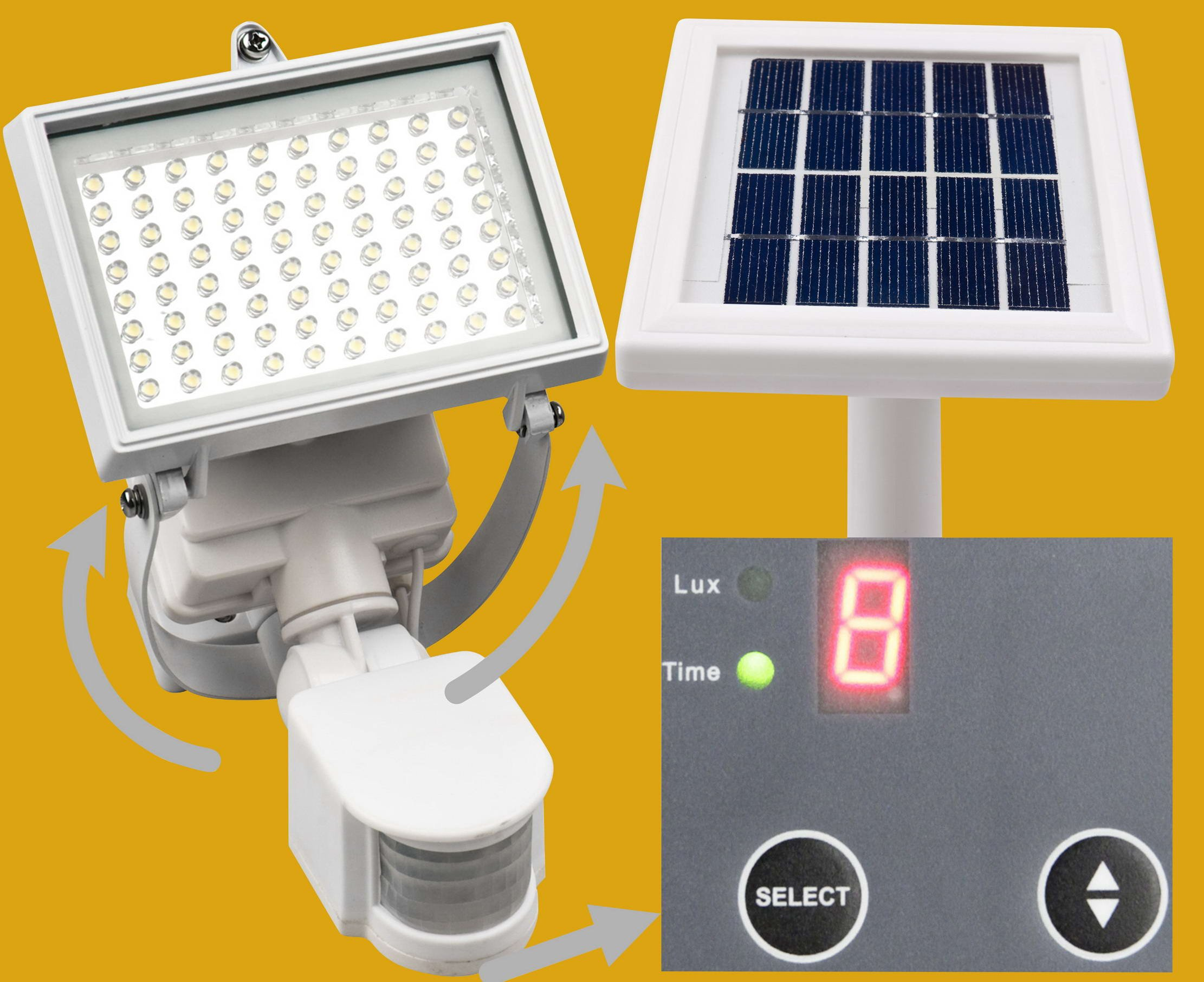 MicroSolar - Warm White - 80 LED - Waterproof - Lithium Battery - Digitally Adjustable TIME & LUX with Buttons --- Adjustable Light Fixture from Left to Right, Up and Down // Outdoor Solar Motion Sensor Light by MicroSolar