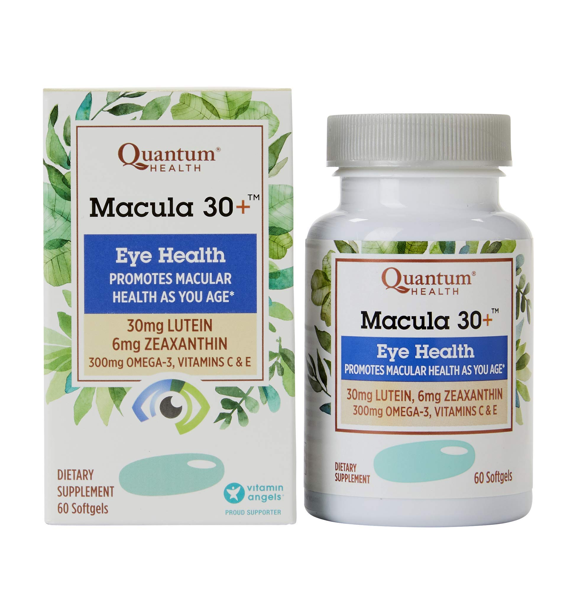 Quantum Health Macula 30+ Softgels, Eye Supplement, Macular Health - Lutein, Zeaxanthin, Vitamin C and E, Omega 3, Zinc - 60 Count by Quantum