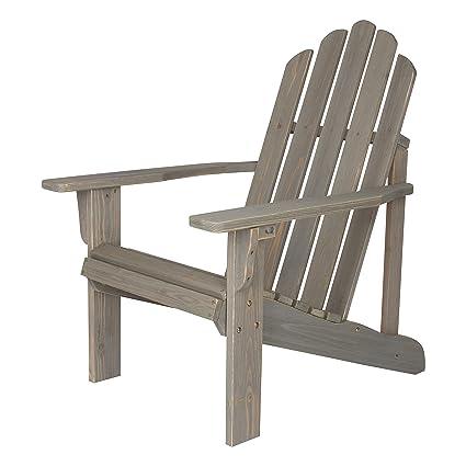 Shine Company Rustic Adirondack Chair, Vintage Gray