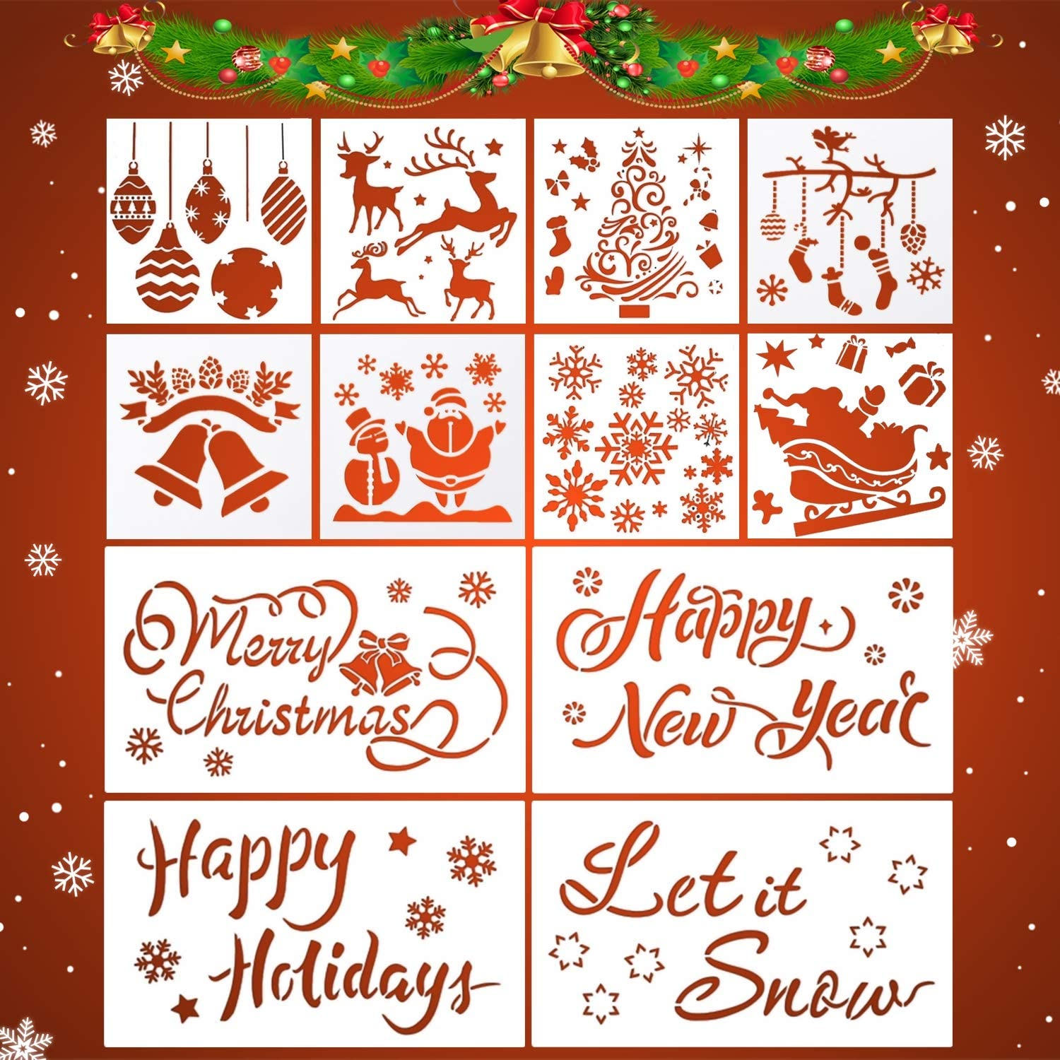 Nefeeko Christmas Stencils Template, 12PCS Reusable Plastic Painting Crafts Stencils for Wood Glass Window Door Wall, DIY Drawing Crafts Home Office Decor Christmas Decorations for Kids