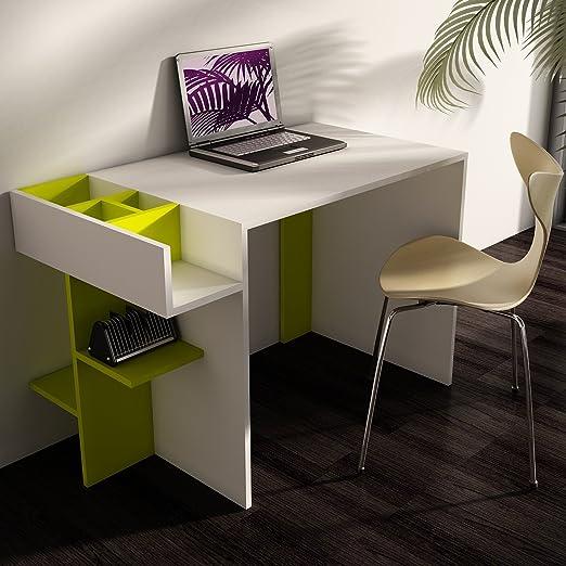 ELENORA Escritorio - Blanco / Verde - Mesa de Ordenador con ...