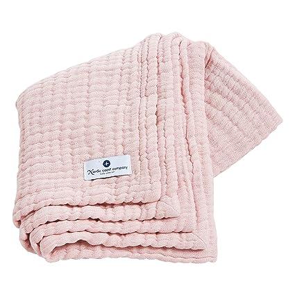Manta para bébé en muselina de Nordic Coast en rosa | Multiuso como Toallita de lactancio